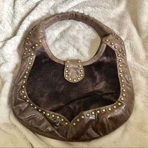 Mat & Nat Brown Faux Fur Hobo Bag